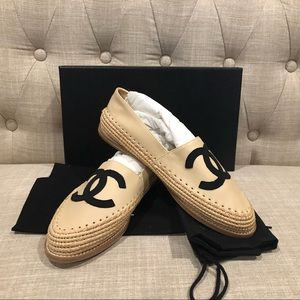 New Chanel 18c espadrilles beige loafers shoes 39